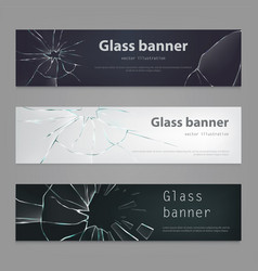 Set of of broken glass vector