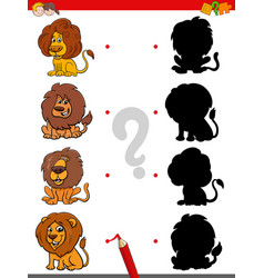 Shadow game with funny lion characters vector