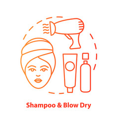 Shampoo and blow dry blue concept icon hair care vector