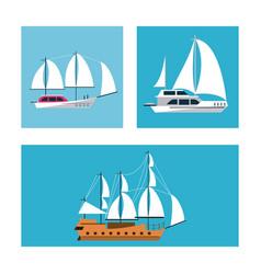 ships icons set vector image