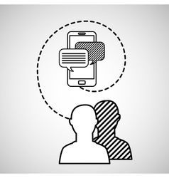 Silhouette head connected cellphone message social vector