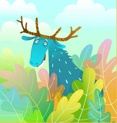 Silly moose design looking amusing and eccentric vector