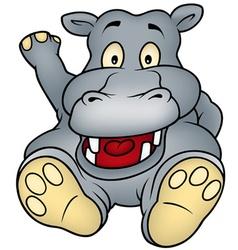 sitting hippo vector image