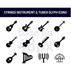 string instrument icon set solid icons base on 48 vector image