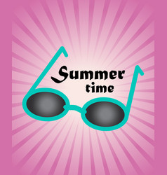 Summer background green blue sun glasses on pink vector