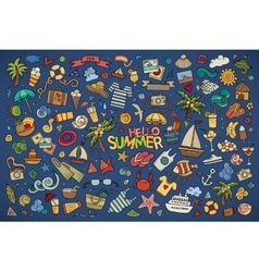 Summer beach symbols and objects vector