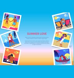 Summer love poster with couples on vacation photos vector