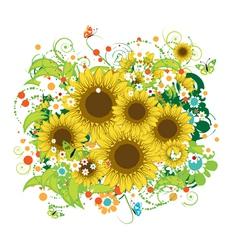 Summer sunflowers bouquet vector