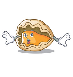 Surprised oyster mascot cartoon style vector
