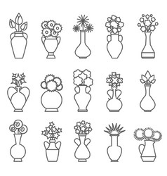 vases with flowers line icons vector image