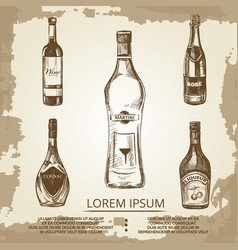 vintage grunge poster with hand drawn alcohol vector image