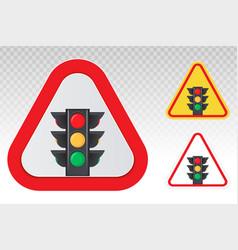 Warning sign - stoplight traffic control light vector