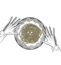 woman eating spaghetti vector image