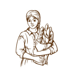woman hold a paket of fresh bread hand draw vector image