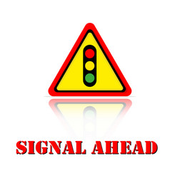 yellow warning signal ahead icon background vector image