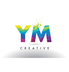 Ym y m colorful letter origami triangles design vector