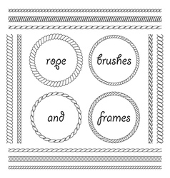 Collection of frames and brushes of the braided vector image vector image
