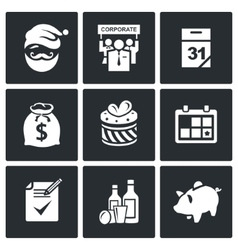 Corporate New Year icons set vector image vector image
