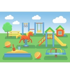 Kids playground flat concept background Slide vector image vector image