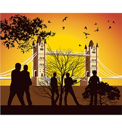 old British bridge with birds vector image vector image