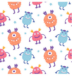 seamless pattern cute scary halloween monsters vector image