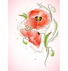 Vertical Background with Red Poppy vector image vector image