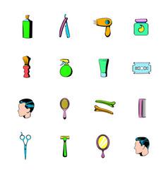 barber shop elements icons set cartoon vector image