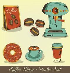 Coffee shop set vector image