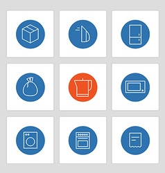 Different line style icons on circles vector image vector image