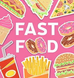 Fast food colorful flat design icons set vector image vector image