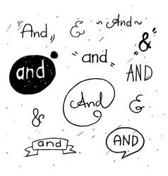 Hand lettered ampersands vector