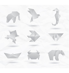Origami White Animals vector image vector image