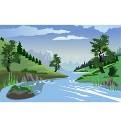 River flowing through hills vector image vector image