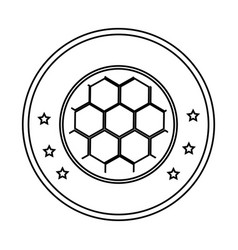silhouette circular border with soccer ball with vector image vector image