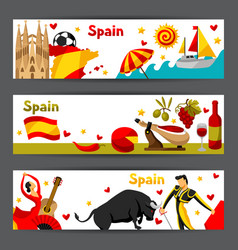 spain banners design spanish traditional symbols vector image vector image