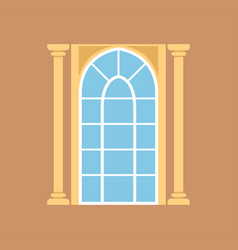 flat window on brown wall decorated with columns vector image