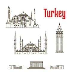 Historic landmarks and sightseeings of turkey vector