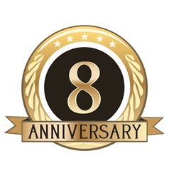 Eight Year Anniversary Badge vector image