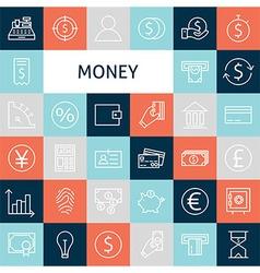 Flat Line Art Modern Money and Finance Icons Set vector image vector image