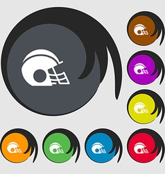 football helmet icon sign Symbols on eight colored vector image vector image