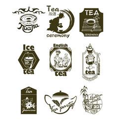 hand drawn tea logotypes set vector image vector image