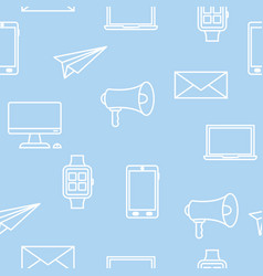 seamless pattern with technology icons on blue vector image