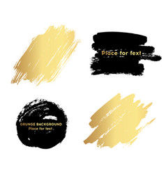set of black and gold paint ink brush strokes vector image vector image