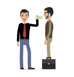 two men make a tansaction on white background vector image