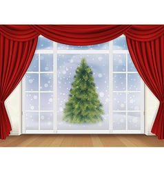 View pine tree out the window with red curtains vector image
