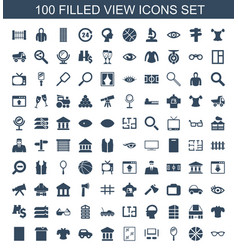 100 view icons vector image
