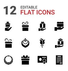 12 present icons vector