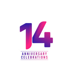 14 years anniversary celebrations template design vector