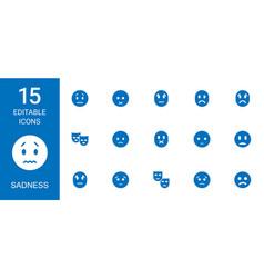 15 sadness icons vector image