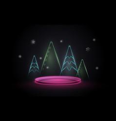 3d neon light podium display with christmas tree vector image
